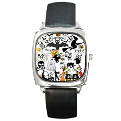 Halloween Mashup Square Leather Watch