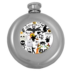 Halloween Mashup Hip Flask (round)