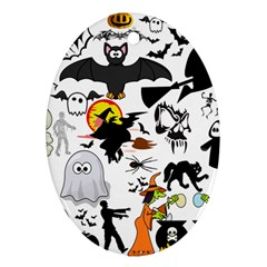 Halloween Mashup Oval Ornament (two Sides)