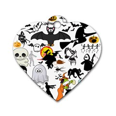Halloween Mashup Dog Tag Heart (two Sided)