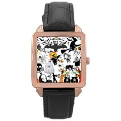 Halloween Mashup Rose Gold Leather Watch
