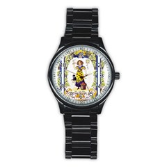 Vintage Halloween Postcard Sport Metal Watch (Black)