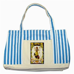 Vintage Halloween Postcard Blue Striped Tote Bag
