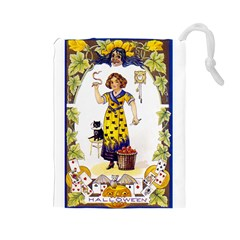 Vintage Halloween Postcard Drawstring Pouch (Large)