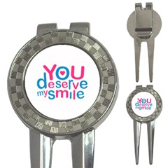 You Deserve My Smile Typographic Design Love Quote Golf Pitchfork & Ball Marker