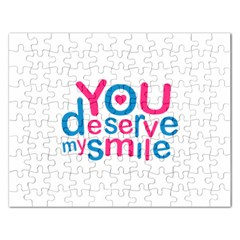 You Deserve My Smile Typographic Design Love Quote Jigsaw Puzzle (rectangle)