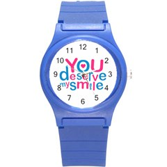You Deserve My Smile Typographic Design Love Quote Plastic Sport Watch (small)