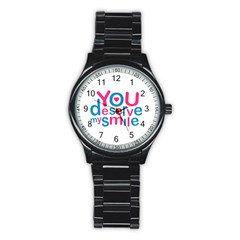 You Deserve My Smile Typographic Design Love Quote Sport Metal Watch (black)