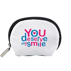 You Deserve My Smile Typographic Design Love Quote Accessory Pouch (Small)