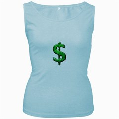 Grunge Style Money Sign Symbol Illustration Women s Tank Top (baby Blue)