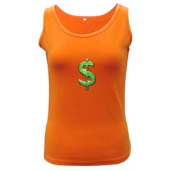 Grunge Style Money Sign Symbol Illustration Women s Tank Top (Dark Colored)