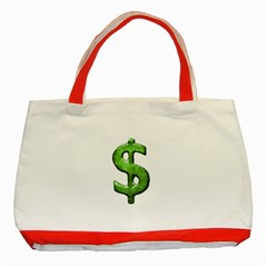 Grunge Style Money Sign Symbol Illustration Classic Tote Bag (Red)