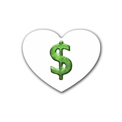 Grunge Style Money Sign Symbol Illustration Drink Coasters (heart)