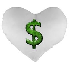Grunge Style Money Sign Symbol Illustration 19  Premium Heart Shape Cushion