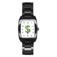 Grunge Style Money Sign Symbol Illustration Stainless Steel Barrel Watch