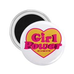 Girl Power Heart Shaped Typographic Design Quote 2 25  Button Magnet