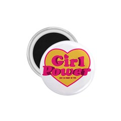 Girl Power Heart Shaped Typographic Design Quote 1 75  Button Magnet