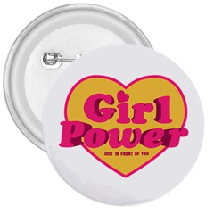Girl Power Heart Shaped Typographic Design Quote 3  Button