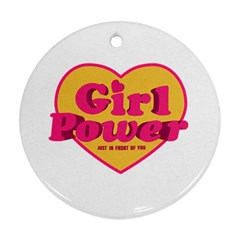 Girl Power Heart Shaped Typographic Design Quote Round Ornament