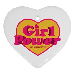 Girl Power Heart Shaped Typographic Design Quote Heart Ornament