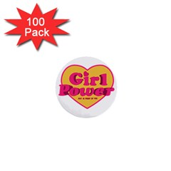 Girl Power Heart Shaped Typographic Design Quote 1  Mini Button (100 pack)