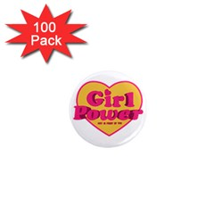 Girl Power Heart Shaped Typographic Design Quote 1  Mini Button Magnet (100 Pack)