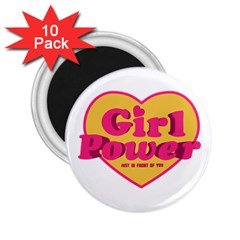 Girl Power Heart Shaped Typographic Design Quote 2.25  Button Magnet (10 pack)