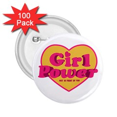Girl Power Heart Shaped Typographic Design Quote 2.25  Button (100 pack)