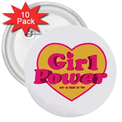 Girl Power Heart Shaped Typographic Design Quote 3  Button (10 pack)