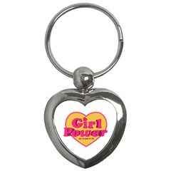 Girl Power Heart Shaped Typographic Design Quote Key Chain (Heart)