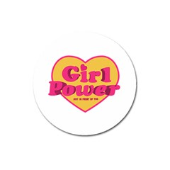 Girl Power Heart Shaped Typographic Design Quote Magnet 3  (round)
