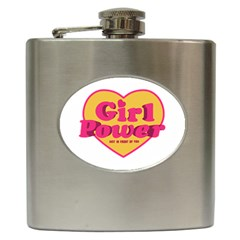 Girl Power Heart Shaped Typographic Design Quote Hip Flask