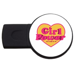 Girl Power Heart Shaped Typographic Design Quote 2gb Usb Flash Drive (round)