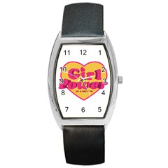 Girl Power Heart Shaped Typographic Design Quote Tonneau Leather Watch