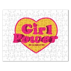 Girl Power Heart Shaped Typographic Design Quote Jigsaw Puzzle (Rectangle)