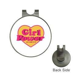 Girl Power Heart Shaped Typographic Design Quote Hat Clip With Golf Ball Marker