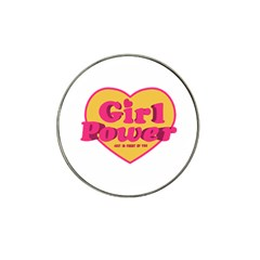 Girl Power Heart Shaped Typographic Design Quote Golf Ball Marker (for Hat Clip)