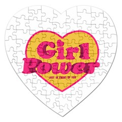 Girl Power Heart Shaped Typographic Design Quote Jigsaw Puzzle (Heart)