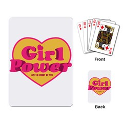 Girl Power Heart Shaped Typographic Design Quote Playing Cards Single Design