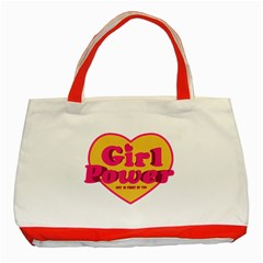 Girl Power Heart Shaped Typographic Design Quote Classic Tote Bag (Red)
