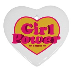 Girl Power Heart Shaped Typographic Design Quote Heart Ornament (Two Sides)