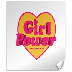 Girl Power Heart Shaped Typographic Design Quote Canvas 8  X 10  (unframed)