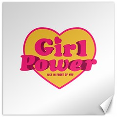 Girl Power Heart Shaped Typographic Design Quote Canvas 20  x 20  (Unframed)