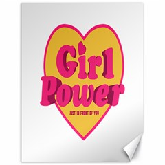 Girl Power Heart Shaped Typographic Design Quote Canvas 18  x 24  (Unframed)
