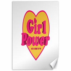 Girl Power Heart Shaped Typographic Design Quote Canvas 20  X 30  (unframed)
