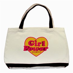 Girl Power Heart Shaped Typographic Design Quote Twin-sided Black Tote Bag