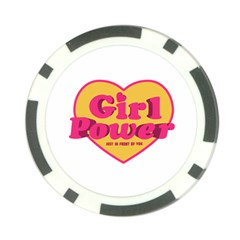 Girl Power Heart Shaped Typographic Design Quote Poker Chip