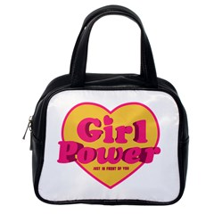 Girl Power Heart Shaped Typographic Design Quote Classic Handbag (One Side)