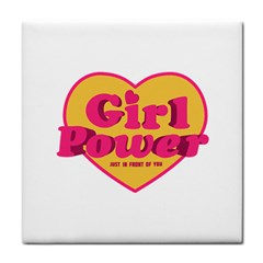Girl Power Heart Shaped Typographic Design Quote Face Towel
