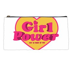 Girl Power Heart Shaped Typographic Design Quote Pencil Case